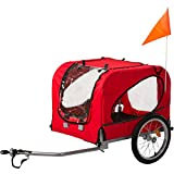 Flieks Fahrradanhänger Hundeanhänger Hunde Fahrrad Tier Anhänger Mit Universalkupplung (Rot_1)