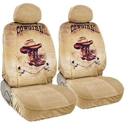 Olive Croft 2PCS CarsCover Print Design Texas Cowgirl Stiefel mit Rosen Auto LKW SUV Universal-Sitzbezüge für Fahrer und Beifahrer