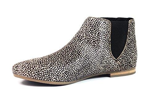 Aspele - Damen Leder Mit Haaren Geparden Aufdruck Flache chelsea Stiefelletten Schuhe Frog White Black-Slip On