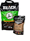 BlackSellig 10 Kg Beach Kokos Grill Briketts REACH registriert + 360 gr. Smokerchips in 8 verschiedenen Aromen -perfekte Profiqualität