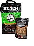 10 Kg Beach Kokos Grill Briketts von BlackSellig + 360 gr. Smokerchips in 8 verschiedenen Aromen -perfekte Profiqualität