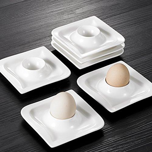 MALACASA, Serie Joesfa, 6 TLG. Set Eierbecher aus Cremeweiß Porzellan Eierständer Eierhalter, je 4,5 Zoll / 11,5x11,5x2,5cm preisvergleich