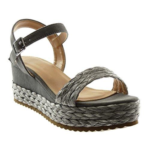 Angkorly Chaussures Mode Mules Sandales Avec Bride À La Cheville Bi-matière Femme Avec Paille Tressée Plateforme Talon Compensé 6.5cm Gris