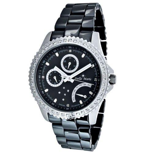 Stella Maris STM11-TC030G-1-C - Reloj de cuarzo con correa de cerámica para mujer, color negro