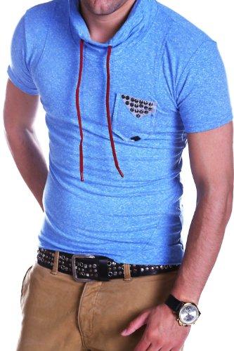 ReRock T-Shirt High Neck Nieten Poloshirt 103 Blau