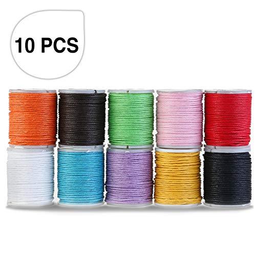 Baumwollschnur, Samione Gewachste Baumwoll schnur Wachsband Baumwollkordel für DIY Schmuck Handwerk machen 10M 1MM (10 Farben)