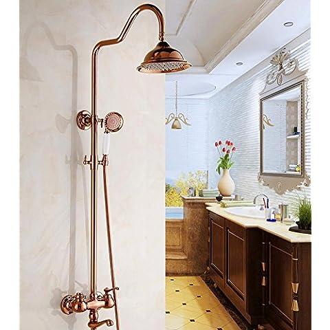 Antico stile europeo doccia rame sollevamento per doccia con doccetta Doccia , rose gold