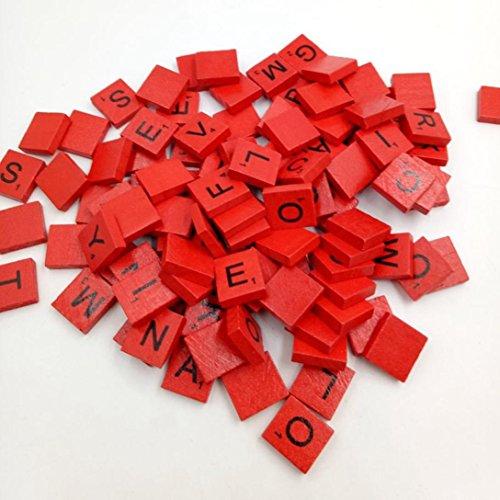 Hölzerne Scrabble Letter Fliesen,Kingwo 100 hölzerne Scrabble Fliesen Schwarze Buchstaben Zahlen für Handwerk Holz Alphabete Groß für Handwerk, Anhänger, Rechtschreibung von Clever Delights (Rot)