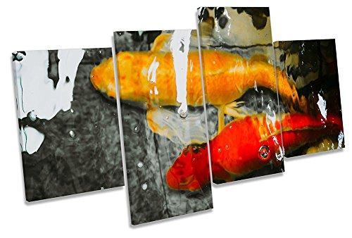 Canvas Geeks Leinwandbild, Motiv Koi Fisch, abstrakt, Mehrfarbig, 200cm Wide x 113cm high (Koi-113)