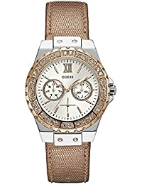 Guess Womens Multi dial Quartz Watch with Leather Strap W0023L7