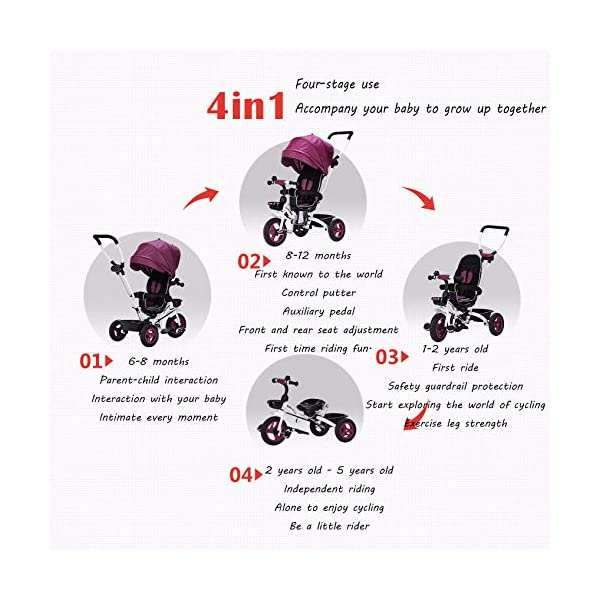 4 In 1 Childrens Folding Tricycle 360° Swivelling Saddle 6 Months To 5 Years 3-Point Safety Belt Kids Tricycle Comfortable And Adjustable Backrest Child Trike Maximum Weight 25 Kg,Pink BGHKFF ★Material: Steel frame, suitable for children from 6 months to 5 years old, the maximum weight is 25 kg ★ 4 in 1 multi-function: can be converted into baby strollers and tricycles. Remove the hand putter and awning, and the guardrail as a tricycle. ★Safety design: Golden triangle structure, safe and stable; front wheel clutch, will not hit the baby's foot; 3 point seat belt + guardrail; rear wheel double brake 2