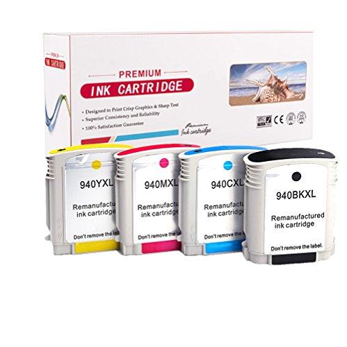 4-Pack RadTek 940 XL Cartouche d'Encre Remplacement pour HP 940XL (1 Noir, 1 Cyan, 1 Magenta, 1 Jaune) avec puce Compatible pour HP OfficeJet PRO 8000 8500 8500A 8500A Plus imprimante