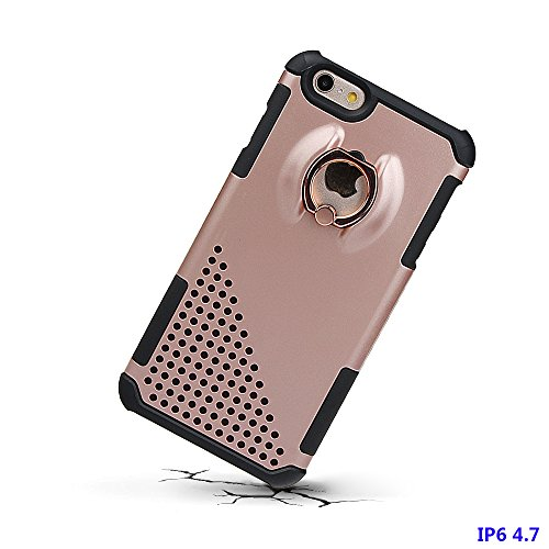 """xhorizon MW8 Drehend Metallring Kickstand Doppelschichtkasten Hybrid Hochleistung Stoßfester Absorption Schützend Case für iPhone 6 / iPhone 6S [4.7""""] Mit einem 9H gehärtet Glasfilm Rose-gold"""