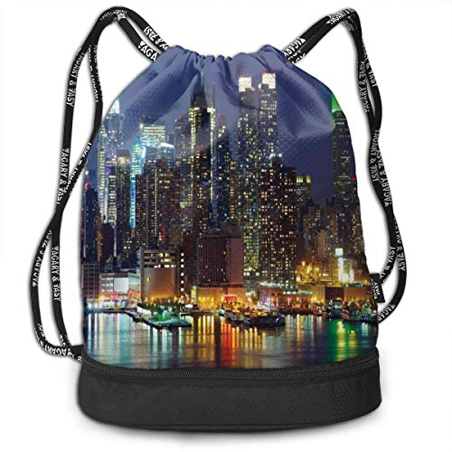 LULABE Printed Drawstring Backpacks Bags,NYC Midtown Skyline In Evening Skyscrapers Amazing Metropolis City States Photo,Adjustable String Closure