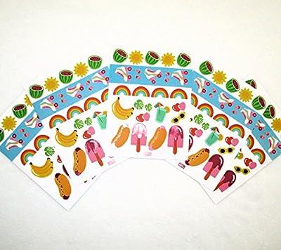 """5 Bögen Farbenfrohe Party-Aufkleber aus der Serie """"Kitiya"""" im 80er Jahre Retro-Stil mit Rollschuhen, Hot-Dogs & Eis am Stiel"""