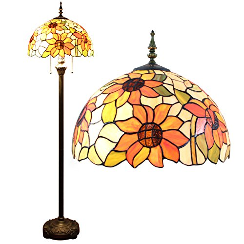 Deals For Gweat 16-Inch Pastoral Sunflower tiffany Floor Lamp Bedroom Lamp Living Room lamp on Line