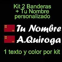 Vinilin - Pegatina Vinilo Bandera Murcia + tu Nombre - Bici, Casco, Pala De