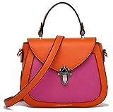 collezione alessandro Modische Damen Handtasche und Umhängetasche mit abnehmbarem, langen Trageriemen, ca.22x17x8cm, und RV-Fach hinten und innen (orange-pink)