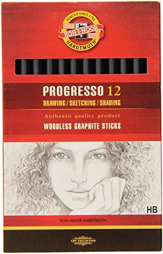 koh-i-noor-progresso-hb-crayon-sans-bois-graphite-boite-de-12