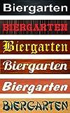 Schild Biergarten – Holzoptik – 52x11cm – 6 Designs + 6 Schriften + Bohrlöcher Aufkleber Hartschaum Aluverbund -S00155B