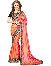 Glory Sarees Women's Silk with Blouse Piece, Free Size (Pink, Mb578)
