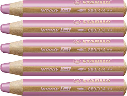 STABILO Woody 3 in 1 matitone colorato colore Rosa - Confezione da 5