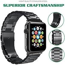 Bracelet pour Apple Watch,Hovinso pour Apple Watch Band Acier Inoxydable Strap Wrist Band Replacement avec Métal Fermoir pour Apple Watch 42mm Series 1 Series 2 Series 3- Noir