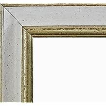 Marco Charleston 92 x 44 cm madera maciza, marci pomposo de alta calidad 44 x 92 cm, color seleccionado: plata blanco con vidrio acrílico antirreflector 1 mm