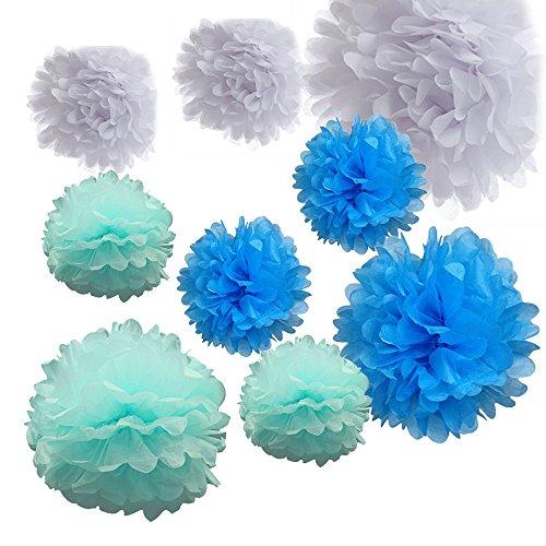 Alxcio 9er Set Seidenpapier PomPoms Pompons Tissue Papierkugel Blume für Weihnachten Hochzeit Party Garten Kinderzimmer Deko,Weiß, Hellblau, Blau