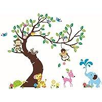 Erthome Wandsticker Motiv Baum Mit Blättern Und Tieren Wandaufkleber,  Wandtattoo, Wanddekoration, Wand