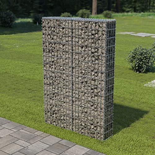 vidaXL Gabionenwand mit Abdeckung Verzinkter Stahl 100×20×150 cm