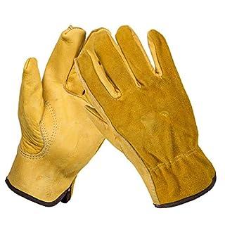 Acidea Robuste Gartenhandschuhe für Herren und Damen, 2 Paar Thorn Proof Leder Arbeitshandschuhe, Schmalem verstärkte Rigger Handschuhe Wasserdicht, Robust und Flexibel (Extra Large)