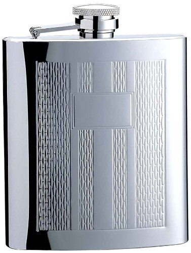 Chrome Steel Column (Visol Textured Columns Matte Engraved Stainless Steel Hip Flask, 8-Ounce, Chrome by Visol)