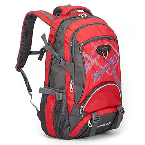 LQABW La Corsa Esterna Di Grande Capienza Borsa A Spalla Delle Signore Di Estate Camminare Panno Uomini Oxford Resistenti E Leggeri Escursionismo Zaino 40L,Red Red