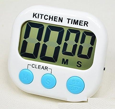 XJoel numérique minuterie de cuisine, Big Digit alarme sonore support magnétique stand, blanc