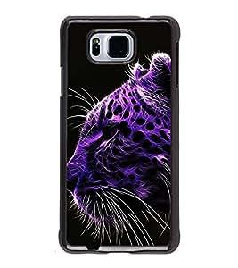 FUSON Purple Leopard Face Tiger Designer Back Case Cover for Samsung Galaxy Alpha :: Samsung Galaxy Alpha S801 :: Samsung Galaxy Alpha G850F G850T G850M G850Fq G850Y G850A G850W G8508S :: Samsung Galaxy Alfa
