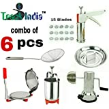 Trackindia Combo Of 6 Kitchen Tools (Stainless Steel Puri Press, Kitchen Press, Menduwada Maker, Coconut Scrapper, Coconut Bracker & Deep Fry Strainer)