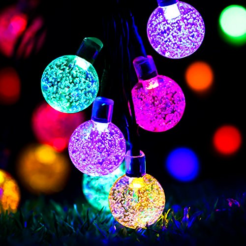 Guirlande lumineuse solaire, GLISTENY 30 LED Lampe Solaire LED éclairage Étanche Extérieure Chaine de lampes 8 Modes de Travail pour Jardin, terrasse, Fête de Noël, mariage