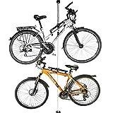 ALLEGRA Fahrrad-Wandhalterung Fahrradhalterung Fahrradaufhängung Fahrradmontageständer (Weiß, 2 Halter + Stange 160cm - 290cm)
