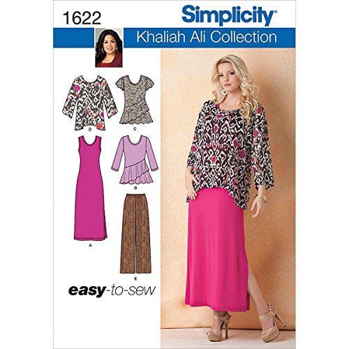 Simplicity Khaliah Ali Pattern 1622 Misses Easy to Sew Pants, Loose Fitting Tunic and Knit Tank Dress or Top Sizes 10-12-14-16-18 by Simplicity Patterns - Loose Tank Fitting