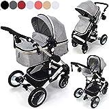 Kinderwagen 3in1 Modell Bambimo von Daliya Riesen 14-Teile Set mit Babyschale in Grau incl. Wickeltasche/Regenschutz/Tisch