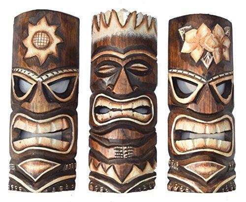 3-Tiki-Mscaras-30cm-IM-HAWAI-Estilo-Juego-de-3-Mscara-de-madera-Mscara-de-pared-Isla-De-Pascua