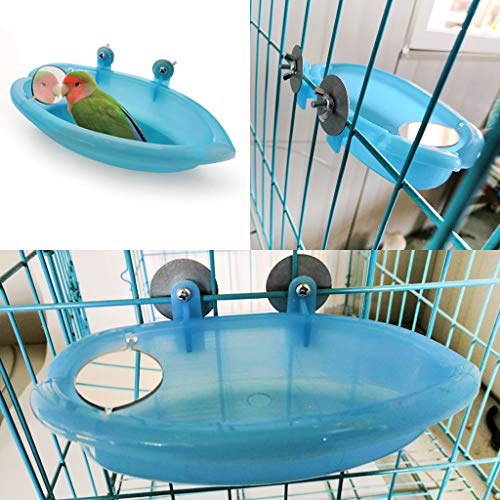 Piccola vasca da bagno per uccelli, pappagalli, accessori per gabbia, specchio per uccelli, box doccia