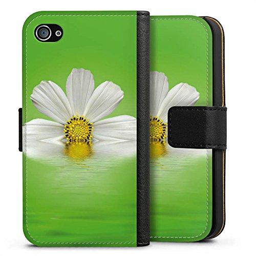 Apple iPhone X Silikon Hülle Case Schutzhülle Gänseblümchen Blume Blüte Sideflip Tasche schwarz