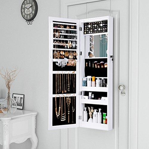 LANGRIA Schmuckschrank Hängender Spiegelschrank mit 10 LED-Leuchten, 5 Regale Aufbewahrung für Schmuck und Kosmetik (Weiß) - 3