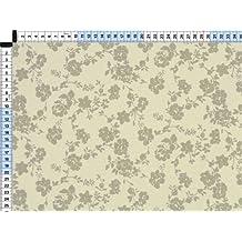 Tela de tapicería, tela de tapicería, tela de tapicería, tela, tela de la cortina, tamaño de flores de lana blanca de algodón de tela - Florentina, naturaleza -