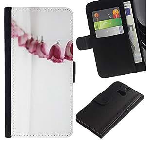 WINCASE ( Non Per HTC ONE Mini 2) Immagine Pelle Raccoglitore Carta Custodia Cover Guscio Case Protezione Per HTC One M8 - Linea carta rose metafora significato profondo