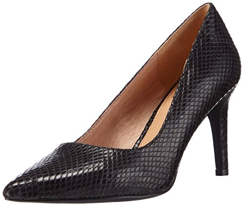 La Strada Schwarze Kroko-Look Pumps, Decolleté chiuse donna, Nero (Schwarz (1501 - croco/snake black)), 39