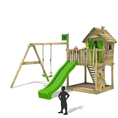 FATMOOSE Spielturm DonkeyDome Double XXL Stelzenhaus Kletterturm Baumhaus mit Schaukel, Rutsche und großem Sandkasten