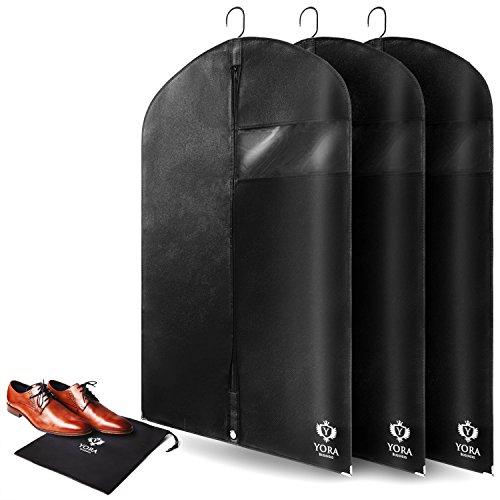 Set Kleid Herren Anzug (3 x Kleidersack Anzug Schutzhülle I Hochwertige Kleiderhülle atmungsaktiv für den Schutz von Hemden & Kleider I Kleiderschutzhülle Anzugsack Anzughülle)